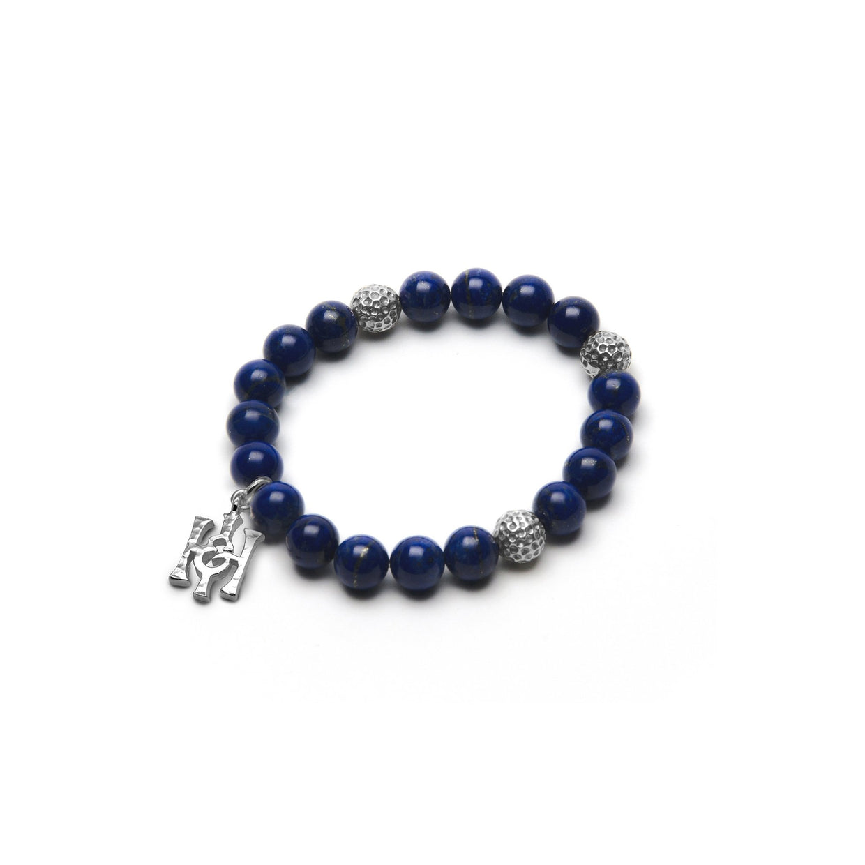Lapis Lazuli & Hammered Silver Bead Bracelet - Small-Hamilton & Inches