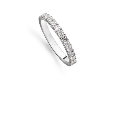 13 Emerald Cut Diamond 1/2 Eternity Ring in Platinum - Hamilton & Inches