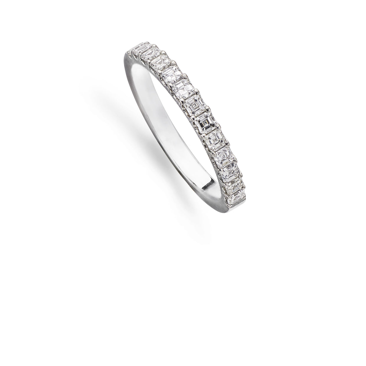 13 Emerald Cut Diamond 1/2 Eternity Ring in Platinum-Hamilton & Inches