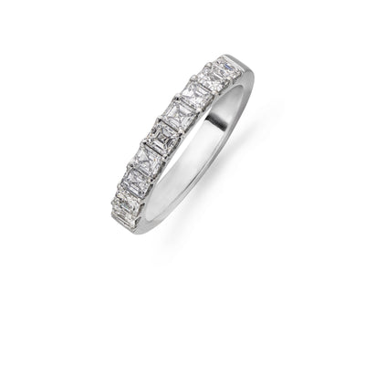 Asscher Cut Diamond Eternity Ring in Platinum-Hamilton & Inches