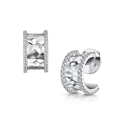 Hamilton & Inches Diamond Duke Huggie Earrings in 18ct White Gold-Hamilton & Inches