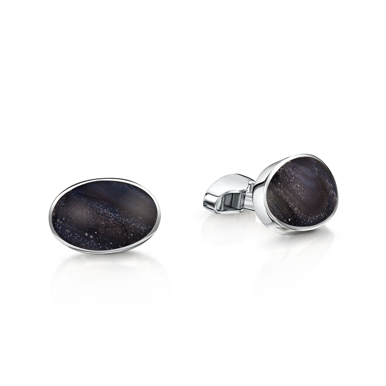 Montrose Agate Cufflinks in Sterling Silver - Hamilton & Inches