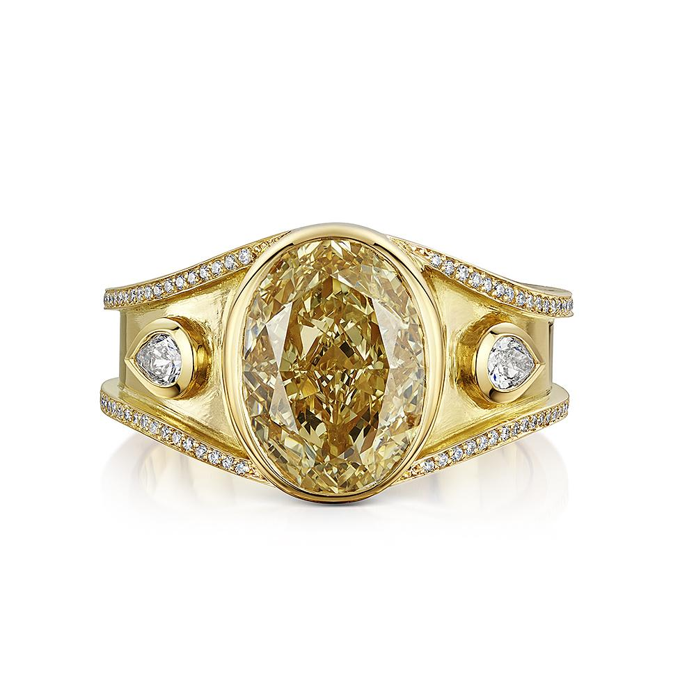 Scottish Gold Collection: Oval Yellow Diamond Ring-Hamilton & Inches