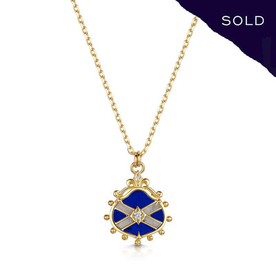Scottish Gold Collection: Lapis & Goldmine Quartz Saltire Pendant-Hamilton & Inches
