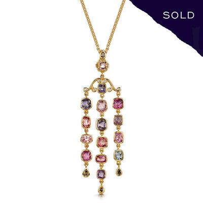 Scottish Gold Collection: Watercolour Spinel & Diamond Necklace - Hamilton & Inches