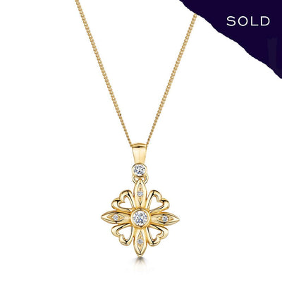 Scottish Gold Collection: Fleur-de-Lys Diamond Pendant-Hamilton & Inches