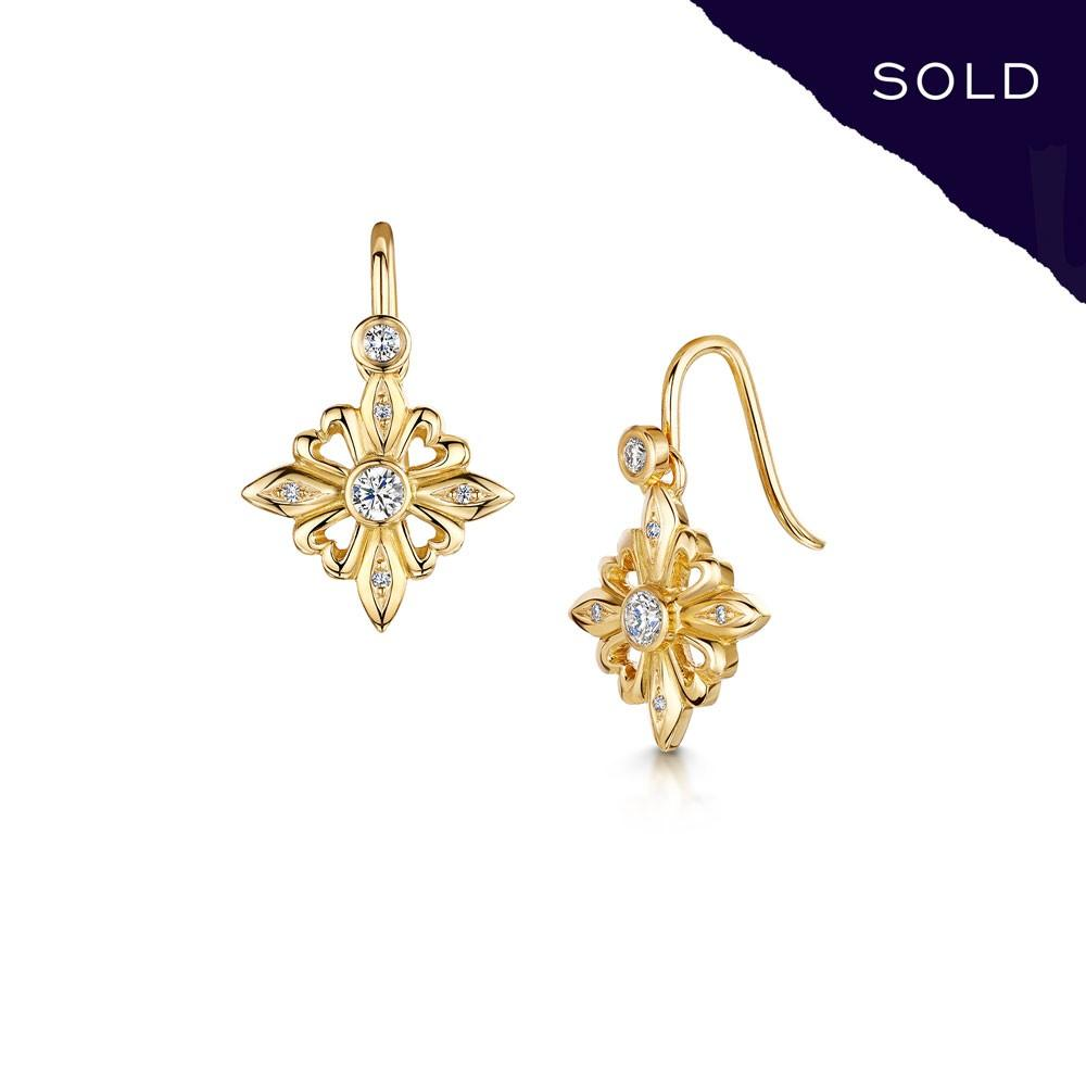 Scottish Gold Collection: Fleur-de-Lys Diamond Earrings - Hamilton & Inches