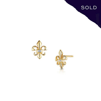 Scottish Gold Collection: Fleur-de-Lys Earrings-Hamilton & Inches