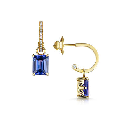 Scottish Gold Collection: Tanzanite Detachable Hoop Earrings - Hamilton & Inches