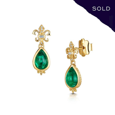 Scottish Gold Collection: Cabochon Emerald Earrings-Hamilton & Inches