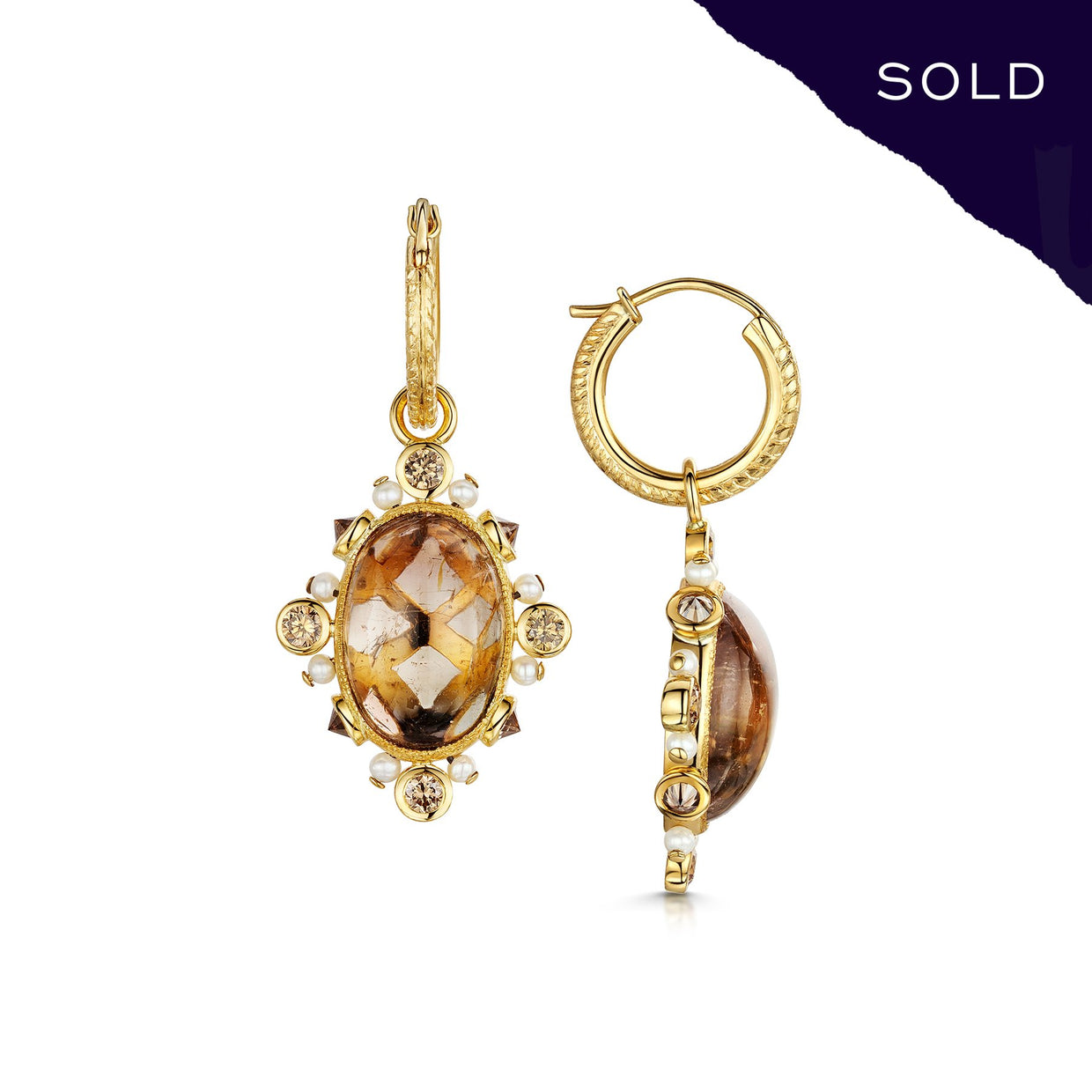 Scottish Gold Collection: Cabochon Tourmaline Earrings-Hamilton & Inches