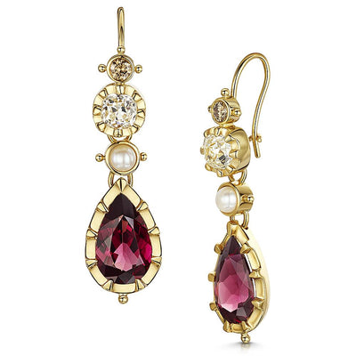 Scottish Gold Collection: Garnet & Diamond Earrings-Hamilton & Inches