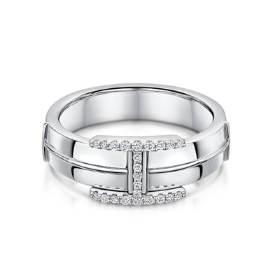 Hamilton & Inches Plain Signature Ring in 18ct White Gold-Hamilton & Inches