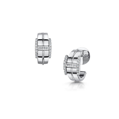 Hamilton & Inches Signature Huggy Earrings in 18ct White Gold-Hamilton & Inches