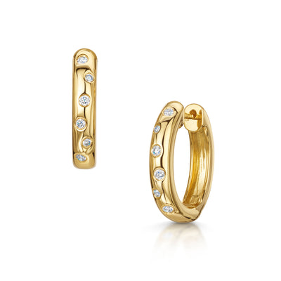 Diamond Hoop Earrings in 18ct Yellow Gold - Hamilton & Inches