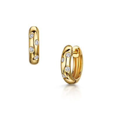 Hoop Earrings with Scattered Diamonds in 18ct Yellow Gold-Hamilton & Inches