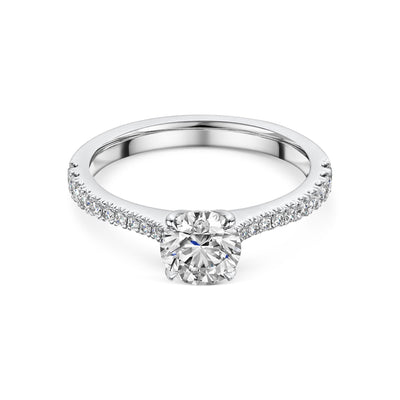 Round Brilliant Diamond Solitaire Engagement Ring in Platinum-Hamilton & Inches