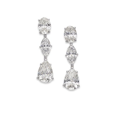 Mixed-Cut Diamond Drop Earrings in 18ct White Gold - Hamilton & Inches