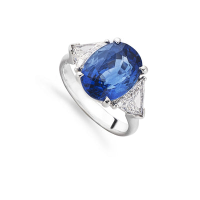 Sapphire and Diamond Three Stone Ring in 18ct White Gold - Hamilton & Inches