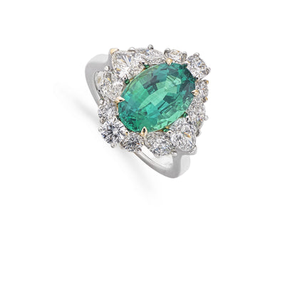 Emerald and Diamond Cluster Ring in 18ct White Gold - Hamilton & Inches