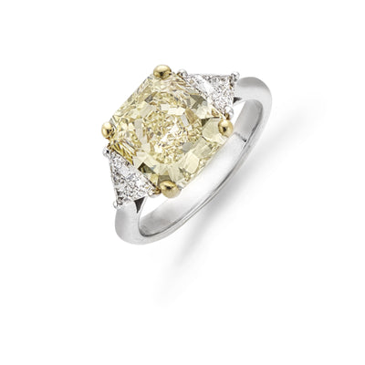 Yellow 4.17cts Diamond Three Stone Ring in 18ct White Gold - Hamilton & Inches