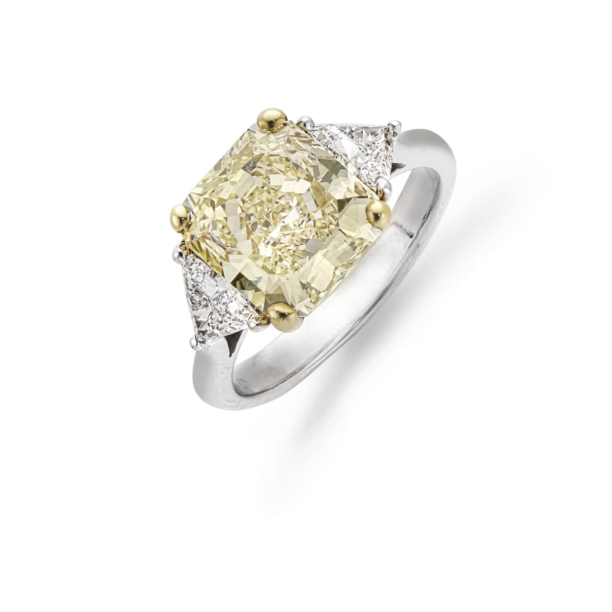 Yellow 4.17cts Diamond Three Stone Ring in 18ct White Gold-Hamilton & Inches