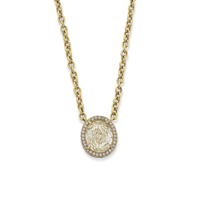 Oval Diamond Pendant in 18ct Yellow Gold - Hamilton & Inches