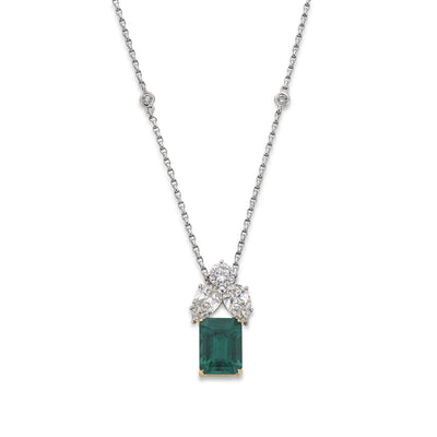 Emerald and Diamond Pendant in 18ct White Gold - Hamilton & Inches