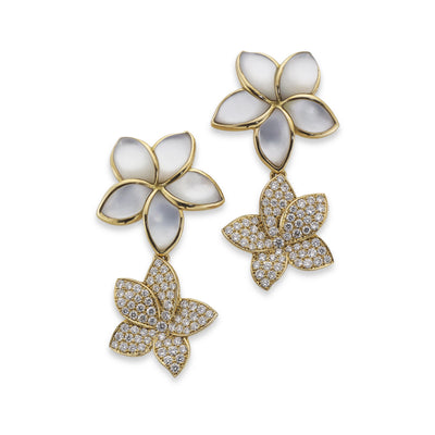 Diamond and Mother of Pearl Flower Drop Earrings in 18ct Yellow Gold-Hamilton & Inches