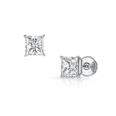 Princess-Cut Stud Earrings in 18ct White Gold - Hamilton & Inches