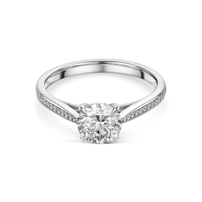 Diamond Solitaire in Platinum with Diamond Shoulders-Hamilton & Inches