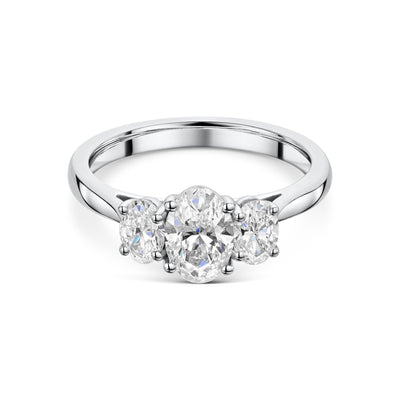 Three Stone Oval Cut Diamond Engagement Ring in Platinum-Hamilton & Inches