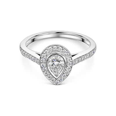 Pear-Cut Diamond Cluster Ring in Platinum
