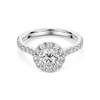 Diamond Cluster Engagement Ring With Diamond Shoulders in Platinum-Hamilton & Inches