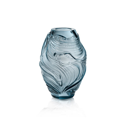 Lalique Poissons Combattants Vase in Persepolis Blue - Hamilton & Inches