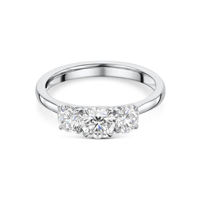 Three Stone Diamond Engagement Ring in Platinum
