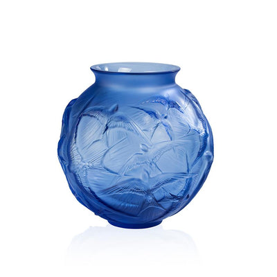 Lalique Hirondelles Vase in Sapphire Blue Crystal - Hamilton & Inches
