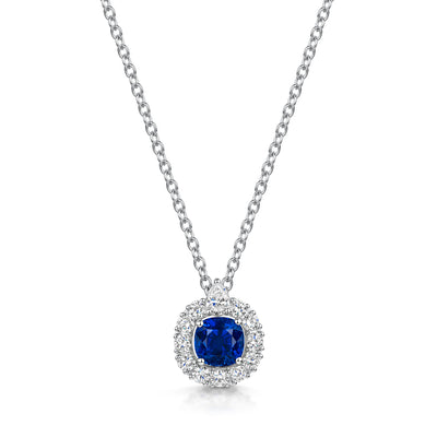 Sapphire and Diamond Cluster Pendant in 18ct White Gold-Hamilton & Inches