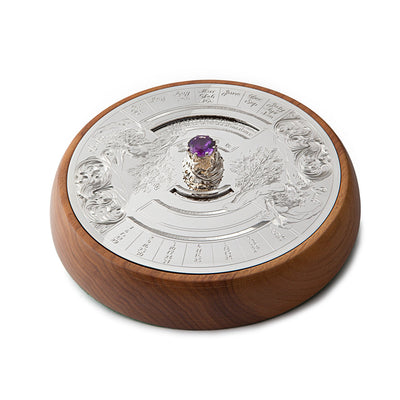 Hamilton & Inches 50 Year Desk Calendar in Sterling Silver with Amethyst-Hamilton & Inches