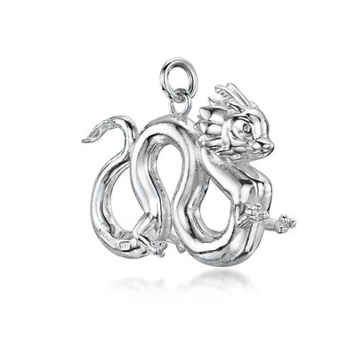 DRAGON CHARM IN STERLING SILVER-Hamilton & Inches