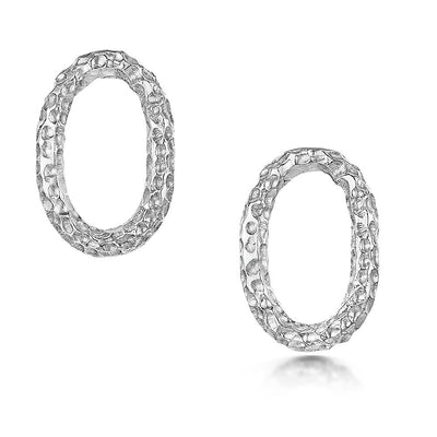 Luna Oval Stud Earrings in Sterling Silver - Hamilton & Inches