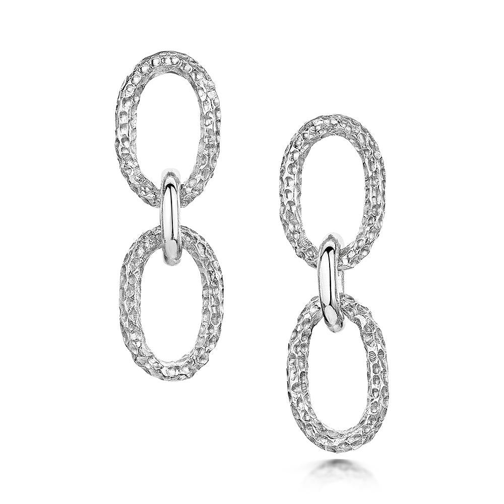 Luna Oval Drop Earrings in Sterling Silver - Hamilton & Inches