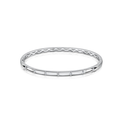 Diamond bangle in 18ct while gold-Hamilton & Inches