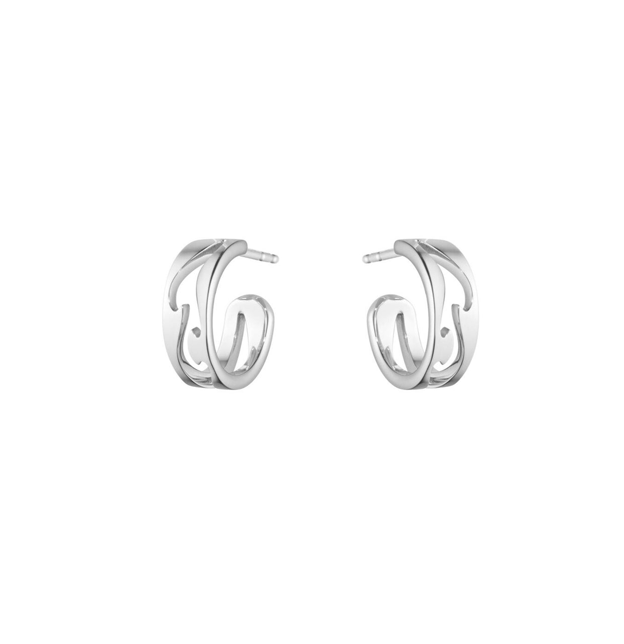 Georg Jensen Fusion Open Hoop Earrings in 18ct White Gold-Hamilton & Inches