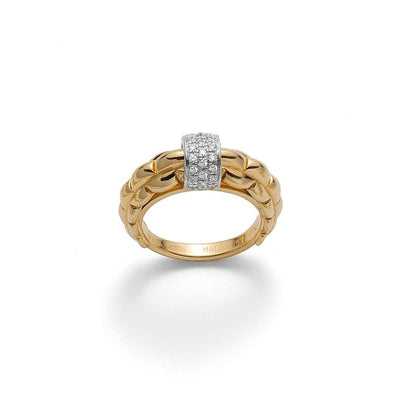 FOPE Flex'it Eka Ring with Diamond Set Rondel in 18ct Yellow Gold-Hamilton & Inches