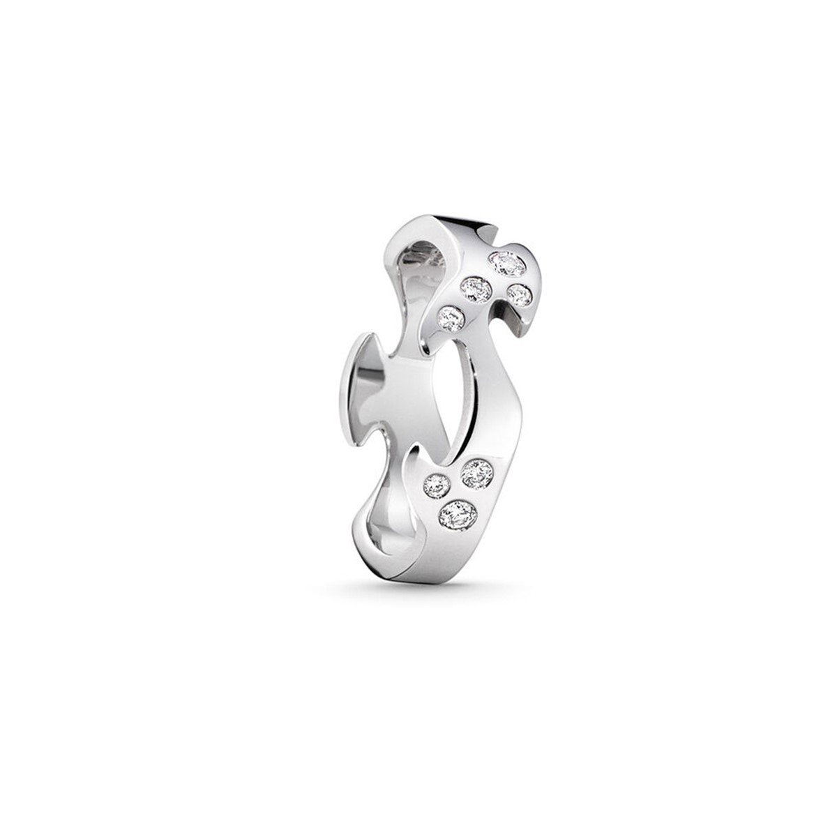 Georg Jensen Fusion Diamond Centre Ring in 18ct White Gold-Hamilton & Inches