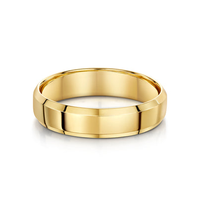 Bevelled Edge Wedding Ring in 18ct Yellow Gold - Hamilton & Inches