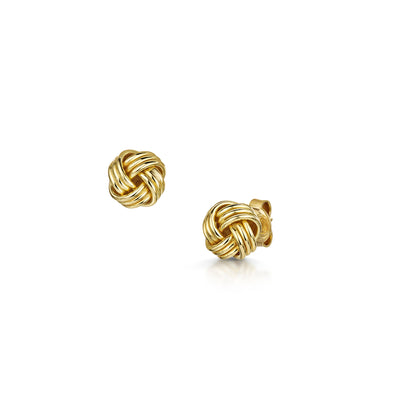 Knot Stud Earrings in 18ct Yellow Gold-Hamilton & Inches