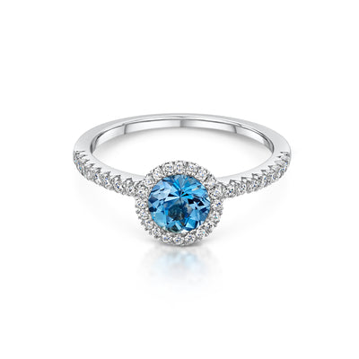 Aquamarine and Diamond Cluster Ring in 18ct White Gold-Hamilton & Inches