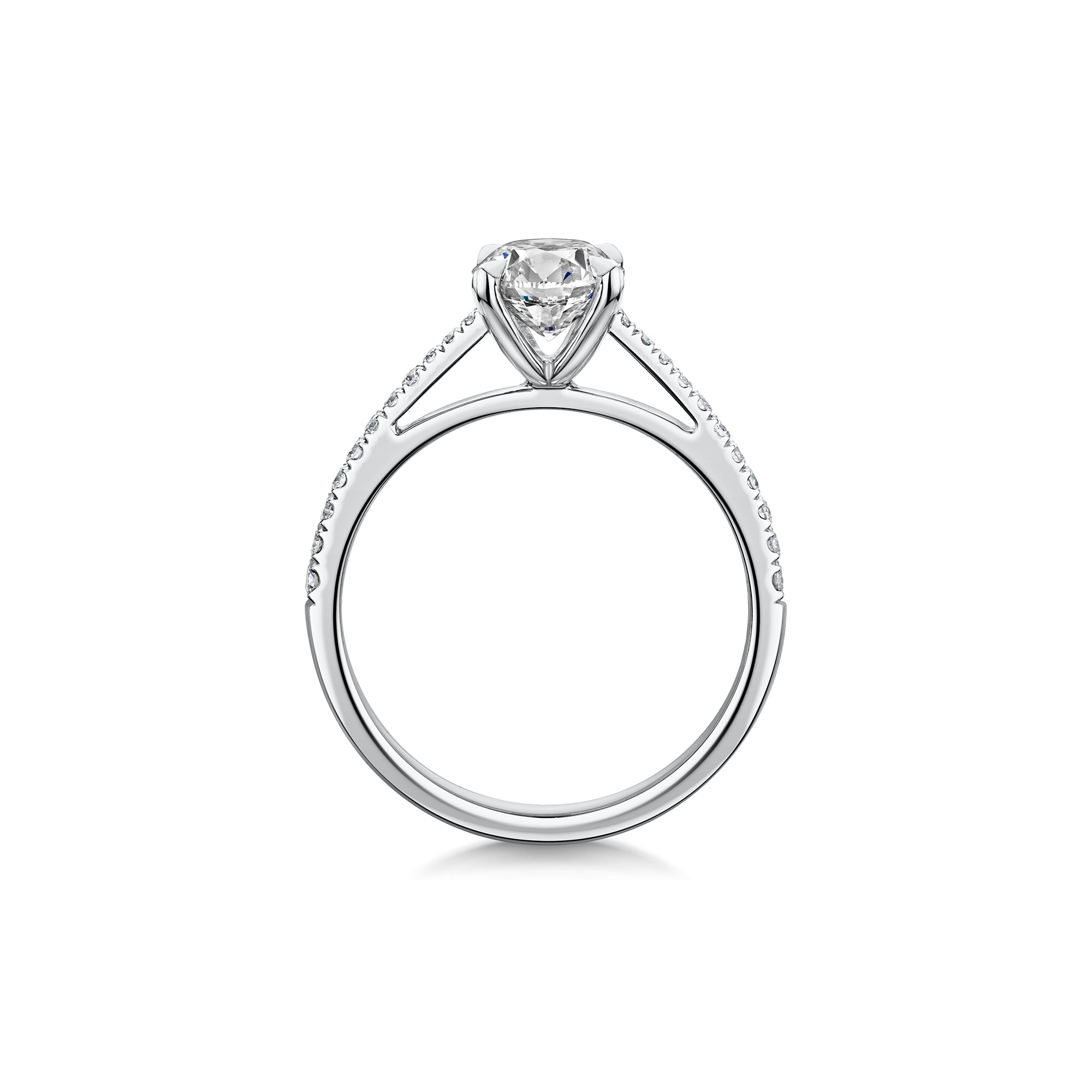 The Engagement Collection: Brilliant-Cut 1.01ct 4 Claw Solitaire Ring With Diamond Shoulders in Platinum-Hamilton & Inches